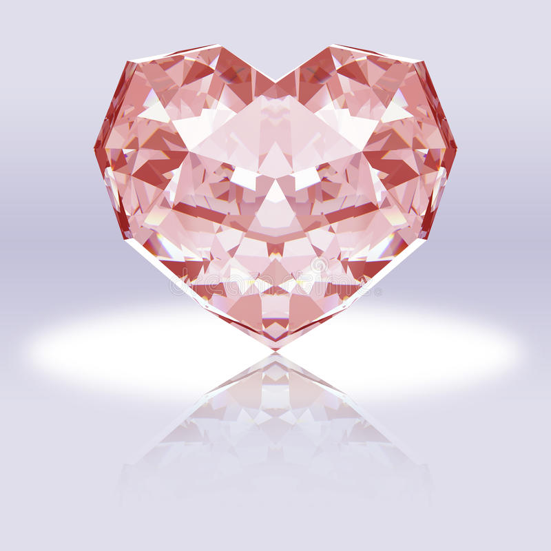 Καρδιά-διαμορφωμένο ροζ διαμάντι με την αντανάκλαση στοκ φωτογραφίες με δικαίωμα ελεύθερης χρήσης