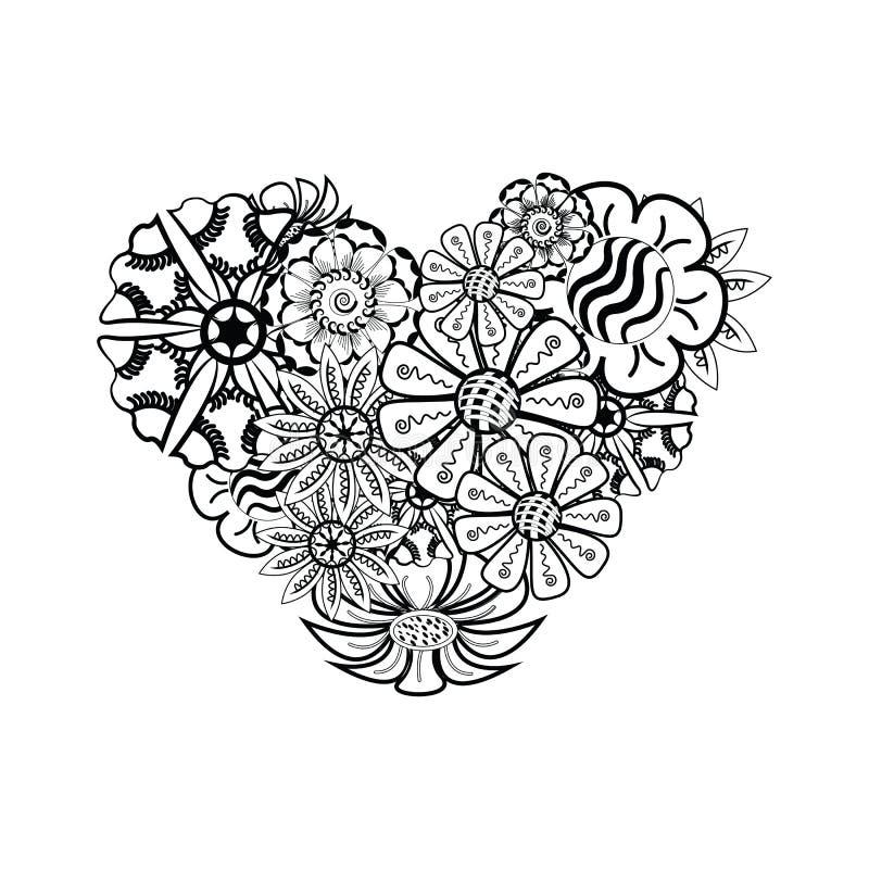Καρδιά-διαμορφωμένο σχέδιο για το χρωματισμό του βιβλίου Floral, αναδρομικός, doodle διανυσματική απεικόνιση