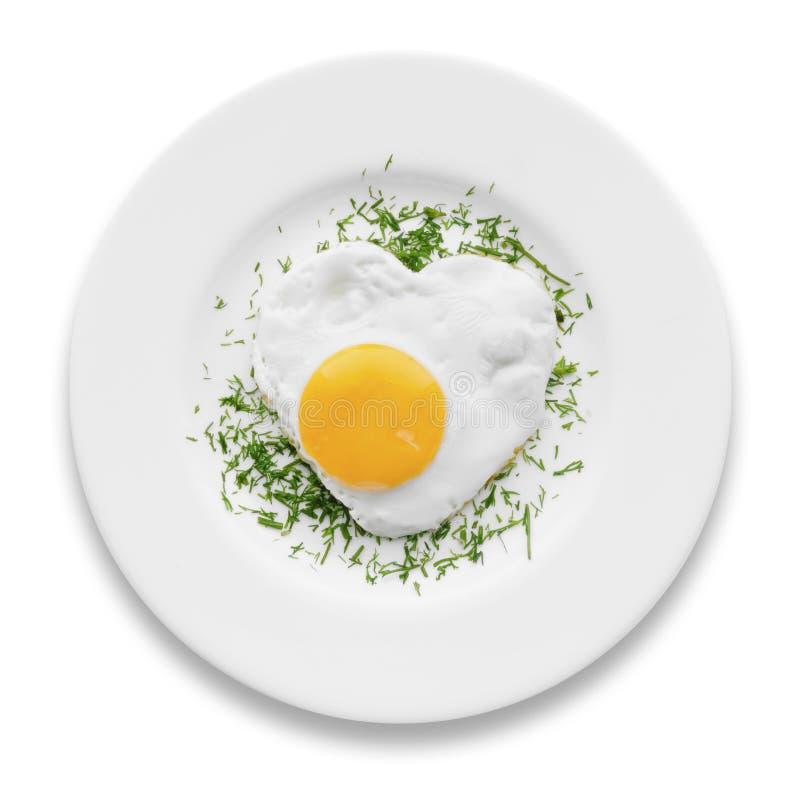 Καρδιά-διαμορφωμένο τηγανισμένο αυγό στοκ φωτογραφία με δικαίωμα ελεύθερης χρήσης