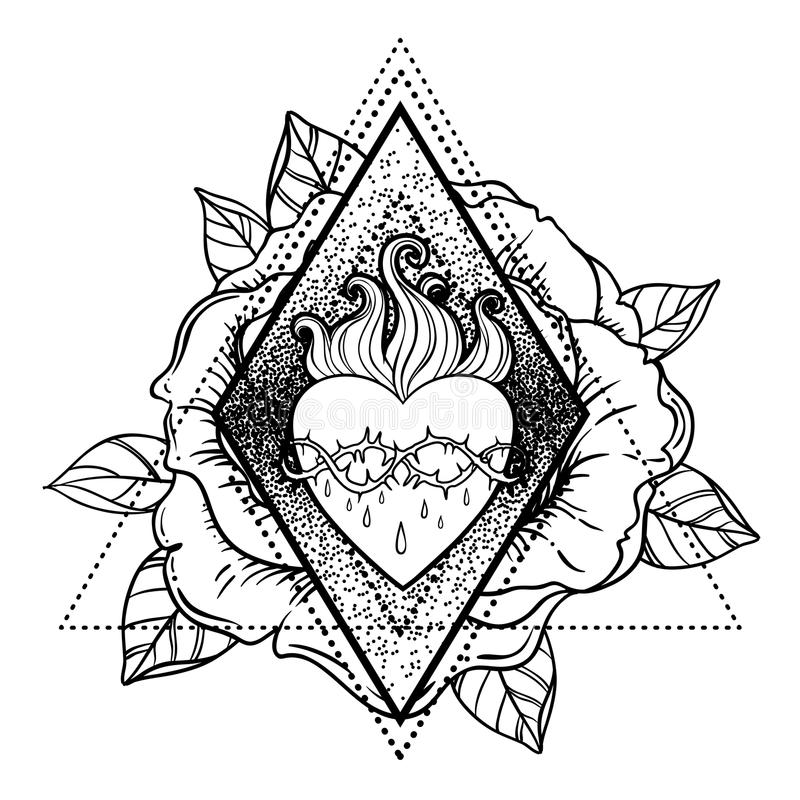καρδιά Ιησούς ιερός Διανυσματική απεικόνιση που απομονώνεται στο άσπρο ove διανυσματική απεικόνιση