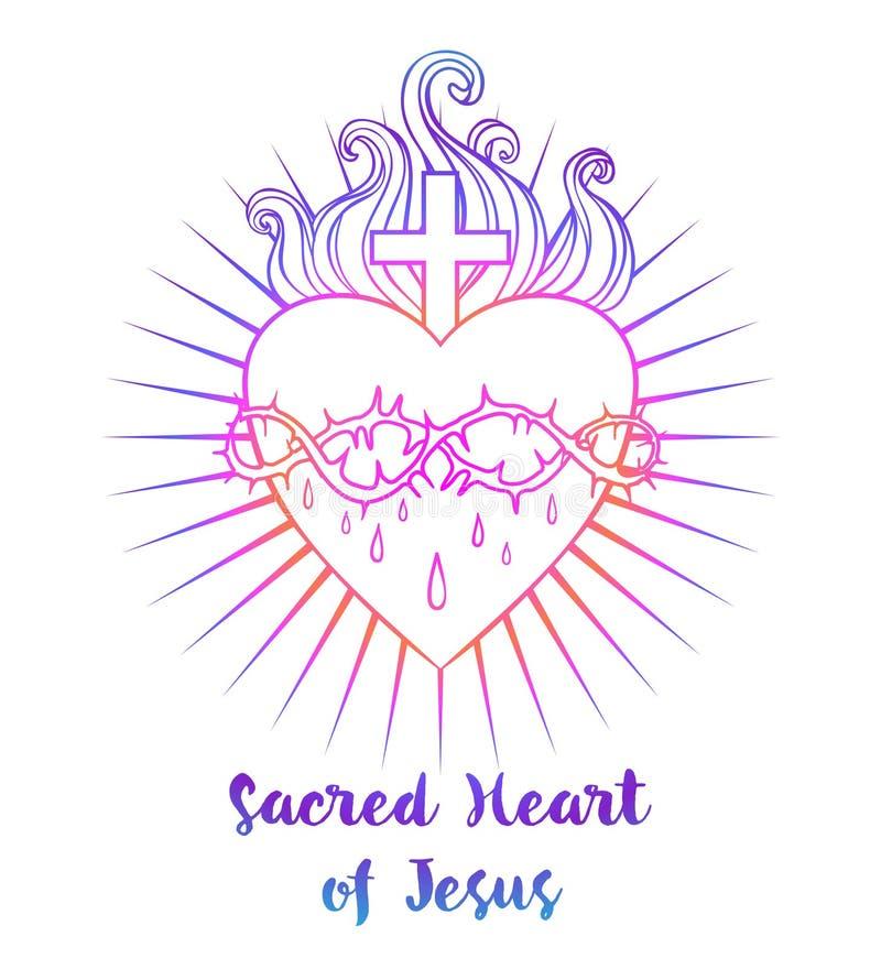 καρδιά Ιησούς ιερός Διανυσματική απεικόνιση στο ζωηρό isola χρωμάτων διανυσματική απεικόνιση