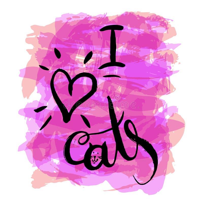 Καρδιά και γάτα διανυσματική απεικόνιση