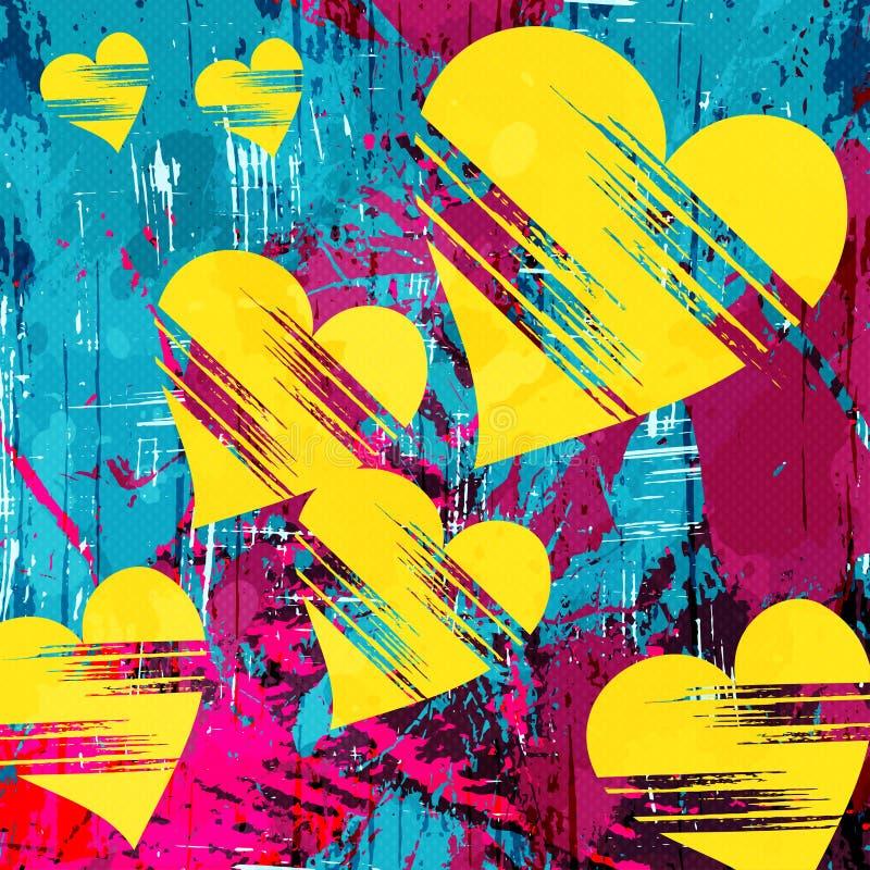 Καρδιά και grunge αφηρημένα psychedelic γκράφιτι σχεδίων σύστασης διανυσματική απεικόνιση