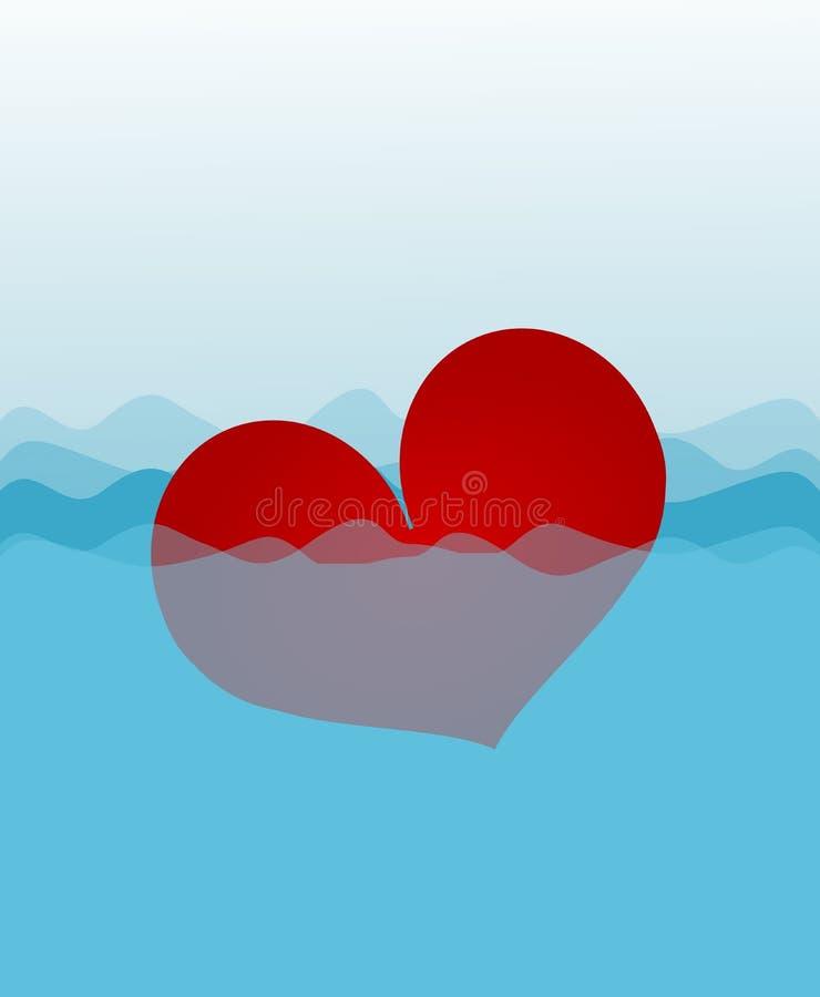 Καρδιά κατάδυσης διανυσματική απεικόνιση