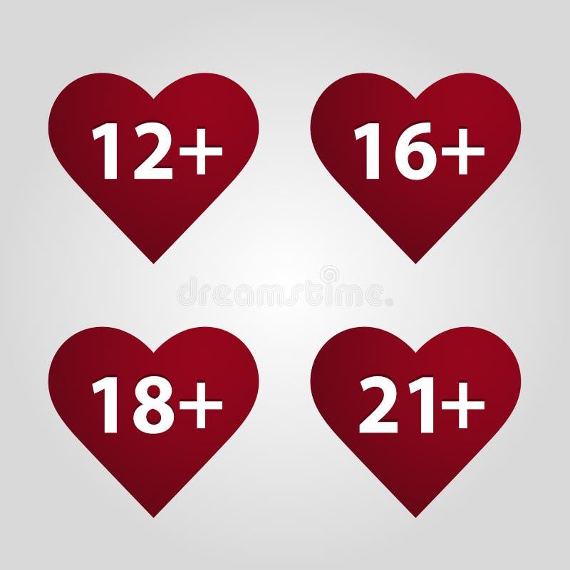 Καρδιά με έναν περιορισμό στην ηλικία διάνυσμα απεικόνιση αποθεμάτων