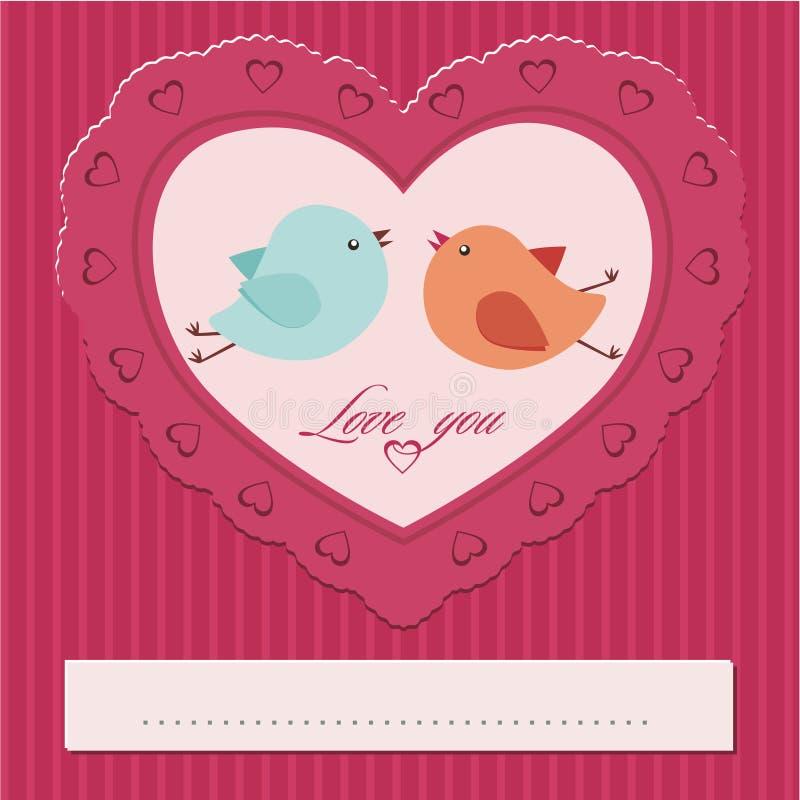 καρδιά με ένα ζευγάρι των πουλιών διανυσματική απεικόνιση