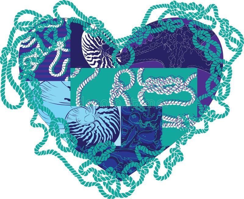 Καρδιά με τα στοιχεία της θαλάσσιας ζωής ελεύθερη απεικόνιση δικαιώματος