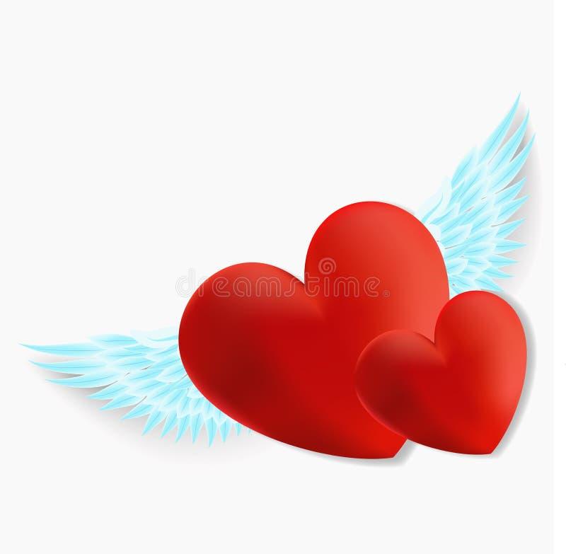 Καρδιά με τα φτερά αγγέλου ελεύθερη απεικόνιση δικαιώματος