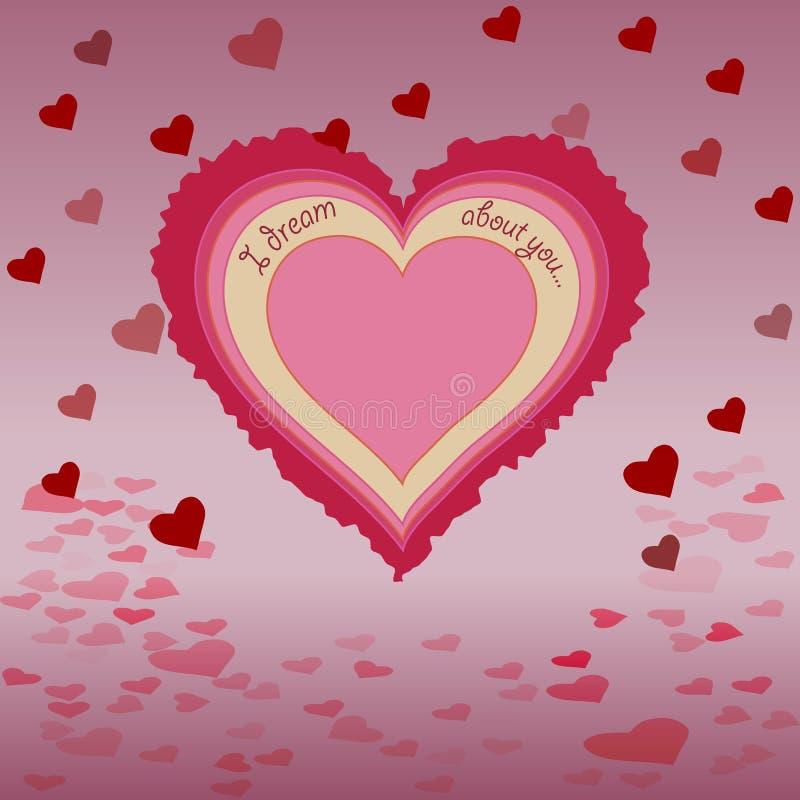 Καρδιά με την επιγραφή, σκιά, πετώντας καρδιές υποβάθρου στοκ φωτογραφία