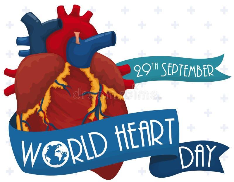 Καρδιά με τις κορδέλλες για να τιμήσει την μνήμη της ημέρας παγκόσμιων καρδιών, διανυσματική απεικόνιση διανυσματική απεικόνιση