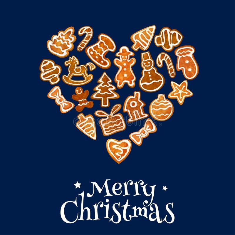 Καρδιά μπισκότων Χριστουγέννων που αποτελείται από το μελόψωμο διανυσματική απεικόνιση