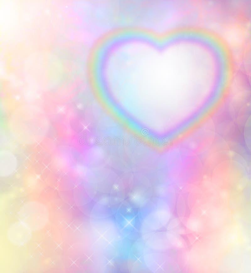 Καρδιά ουράνιων τόξων στο υπόβαθρο ουράνιων τόξων bokeh διανυσματική απεικόνιση