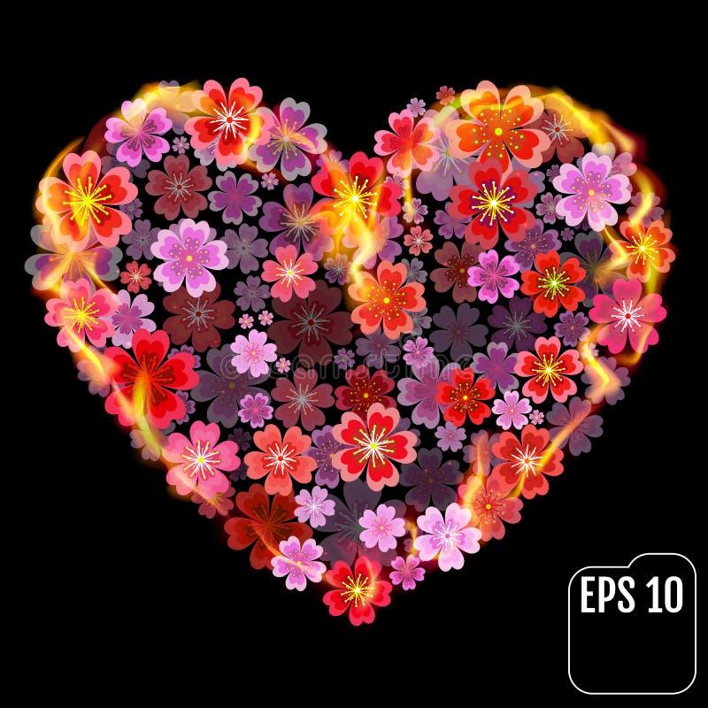 Καρδιά λουλουδιών στην πυρκαγιά που απομονώνεται στο μαύρο υπόβαθρο Καρδιά πυρκαγιάς διανυσματική απεικόνιση