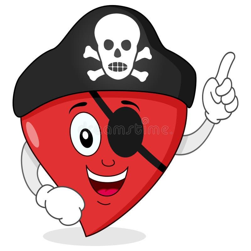 Καρδιά πειρατών με το χαρακτήρα μπαλωμάτων ματιών απεικόνιση αποθεμάτων