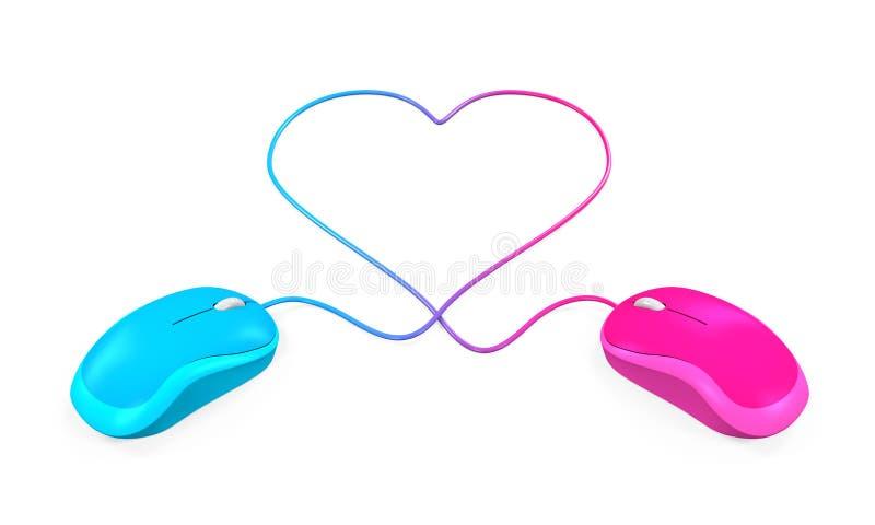 Καρδιά που διαμορφώνονται και ποντίκι υπολογιστών ελεύθερη απεικόνιση δικαιώματος