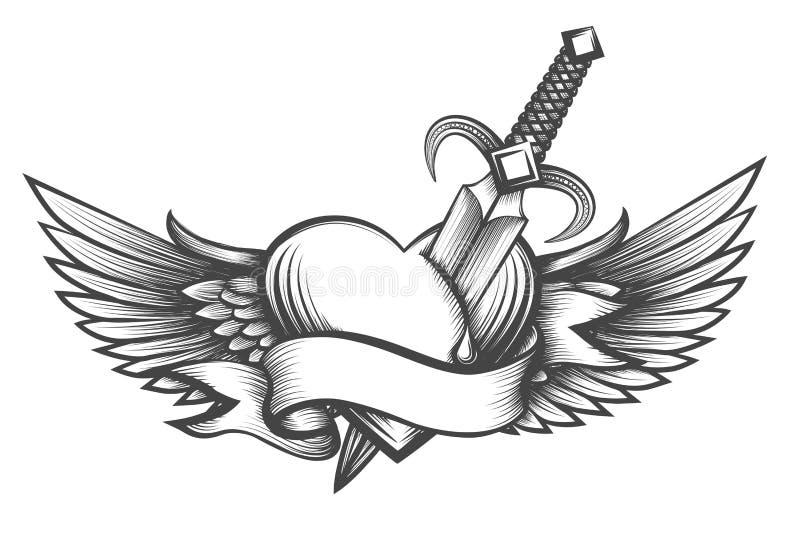 Καρδιά που διαπερνιέται φτερωτή το στιλέτο που σύρεται από στο ύφος δερματοστιξιών ελεύθερη απεικόνιση δικαιώματος