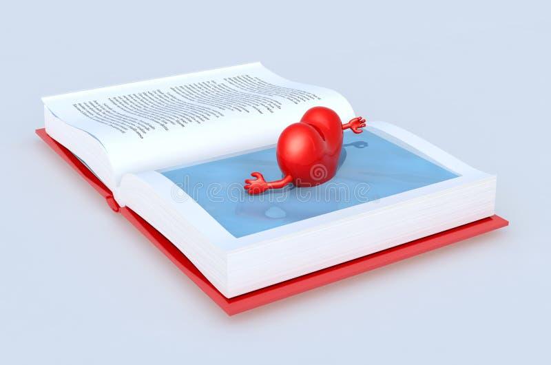 Καρδιά που κολυμπά στο βιβλίο διανυσματική απεικόνιση