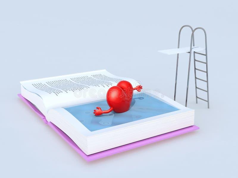 Καρδιά που κολυμπά στο βιβλίο απεικόνιση αποθεμάτων