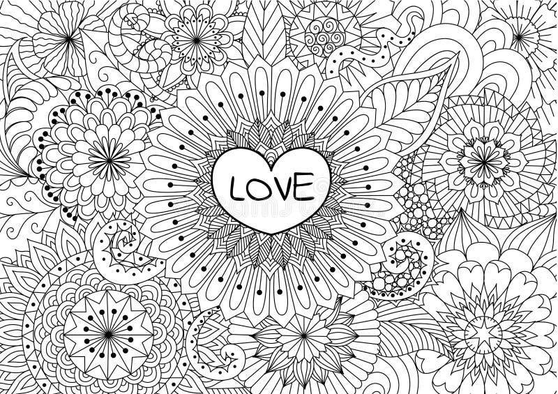 Καρδιά στα λουλούδια για το χρωματισμό των βιβλίων για τον ενήλικο ή την κάρτα βαλεντίνων διανυσματική απεικόνιση