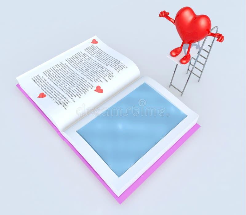 Καρδιά στην εμβύθιση τραμπολίνων στο βιβλίο διανυσματική απεικόνιση