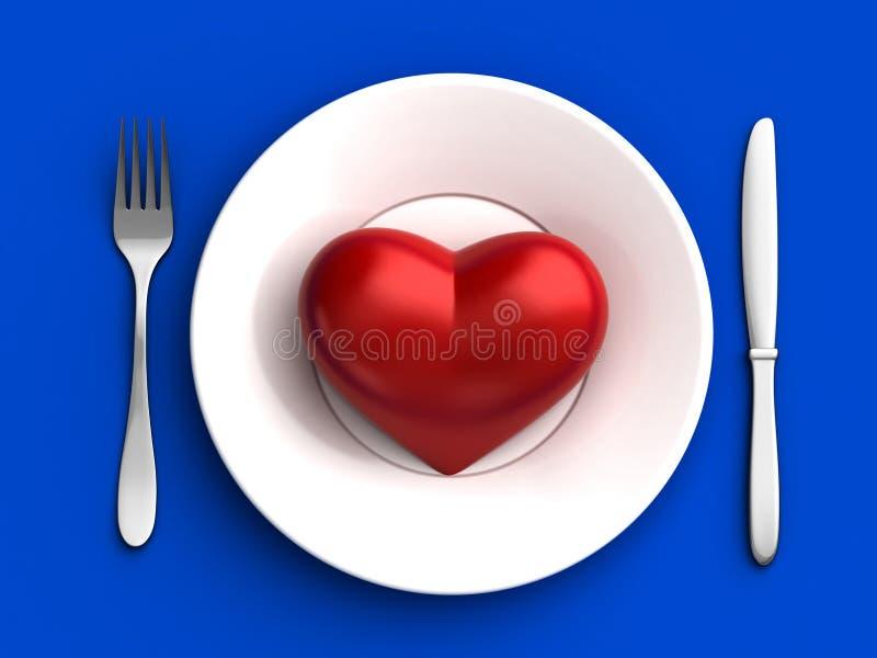Καρδιά στο πιάτο απεικόνιση αποθεμάτων