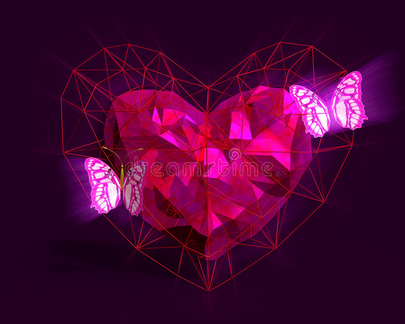 Καρδιά στο χαμηλό πολυ ύφος με το ρόδινο φως και τις πεταλούδες διανυσματική απεικόνιση