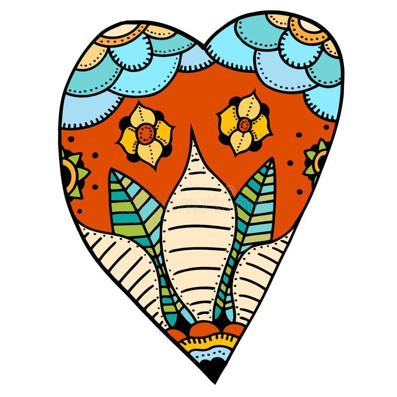 Καρδιά στο floral ύφος απεικόνιση αποθεμάτων