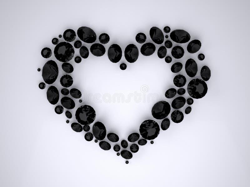 Καρδιά των μαύρων διαμαντιών διανυσματική απεικόνιση