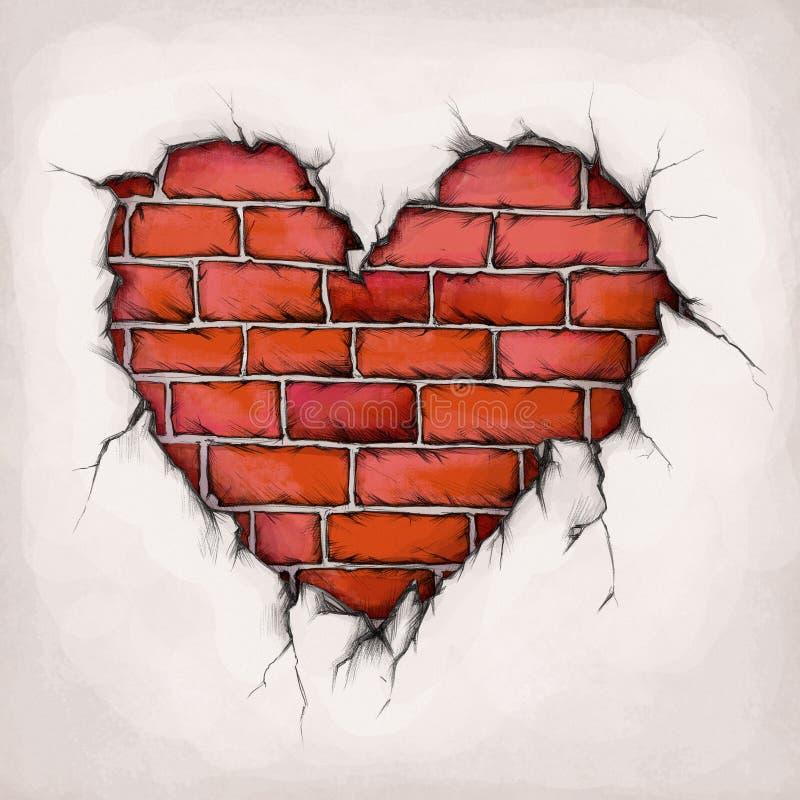 Καρδιά των τούβλων διανυσματική απεικόνιση