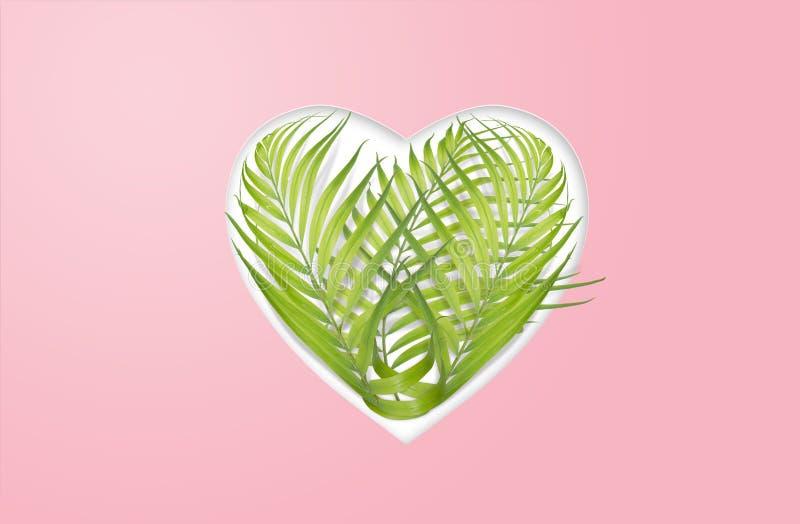 Καρδιά των φύλλων φοινικών - περιβαλλοντική έννοια διανυσματική απεικόνιση