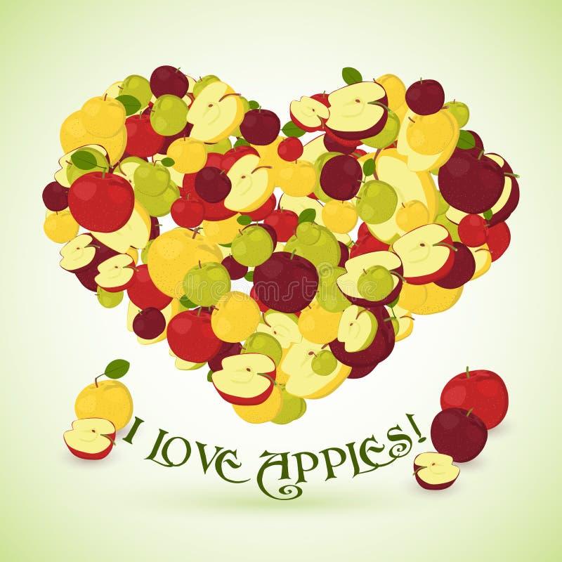 Καρδιά φιαγμένη από μήλα με το κείμενο κατωτέρω ελεύθερη απεικόνιση δικαιώματος