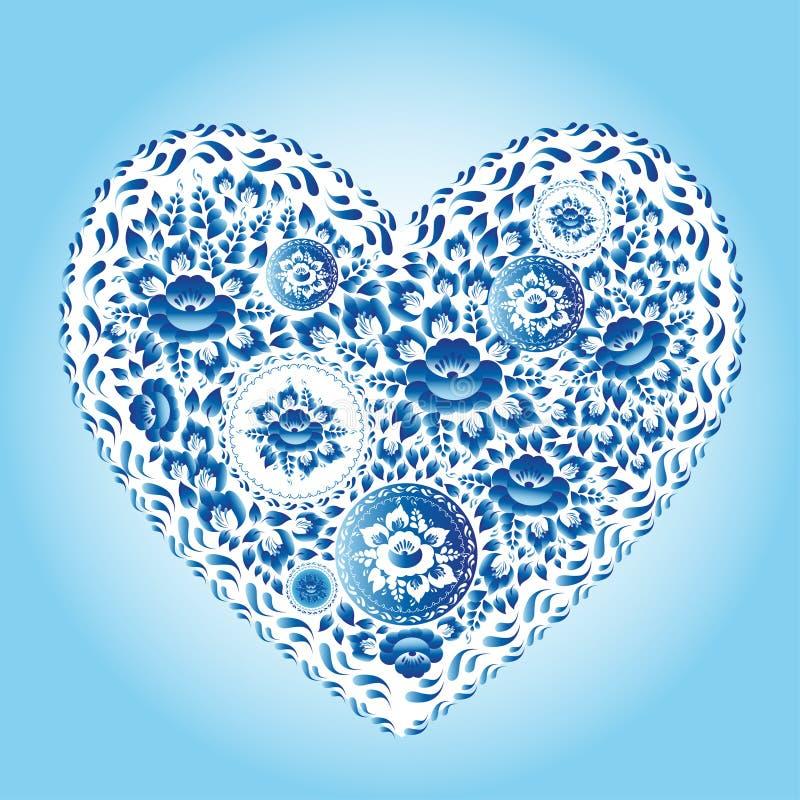 Καρδιά φιαγμένη από μπλε λουλούδια Ρομαντική κάρτα πρόσκλησης κινούμενων σχεδίων διανυσματική απεικόνιση