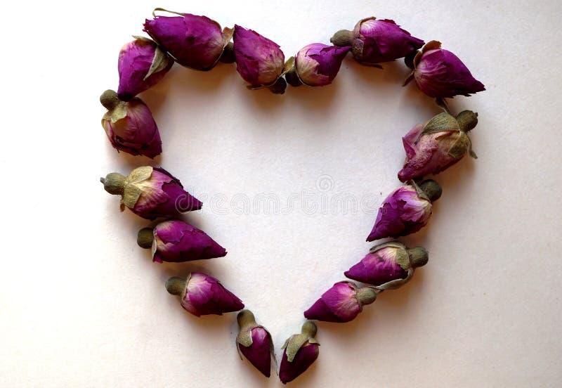 Καρδιά φιαγμένη από ξηρά ρόδινα μπουμπούκια τριαντάφυλλου στοκ φωτογραφία με δικαίωμα ελεύθερης χρήσης