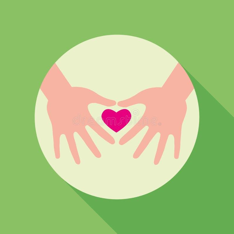καρδιά χεριών που κρατά δύ&omicron απεικόνιση αποθεμάτων
