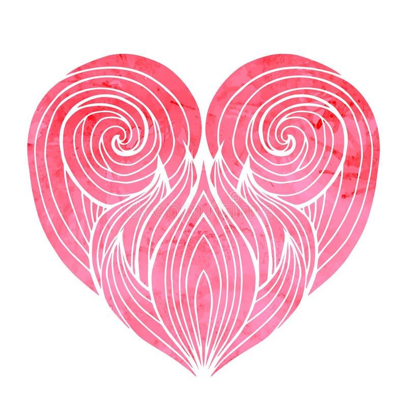 Καρδιά Doodle με το σχέδιο τρίχας διανυσματική απεικόνιση