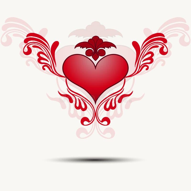 Καρδιά Tracery με τα φτερά διάνυσμα ελεύθερη απεικόνιση δικαιώματος