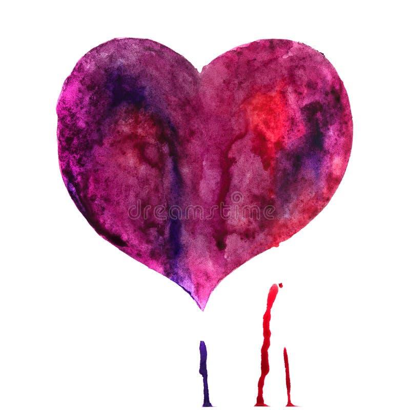 Καρδιά Watercolor που απομονώνεται στο λευκό στοκ εικόνα