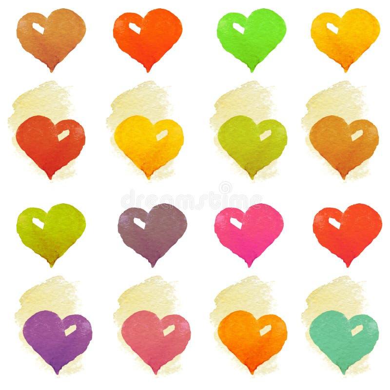Καρδιά Watercolour στο άσπρο υπόβαθρο διανυσματική απεικόνιση
