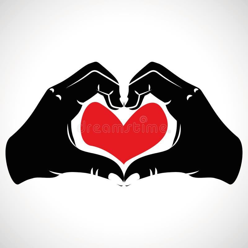 Καρδιές αγάπης χεριών μορφής εικονιδίων ελεύθερη απεικόνιση δικαιώματος