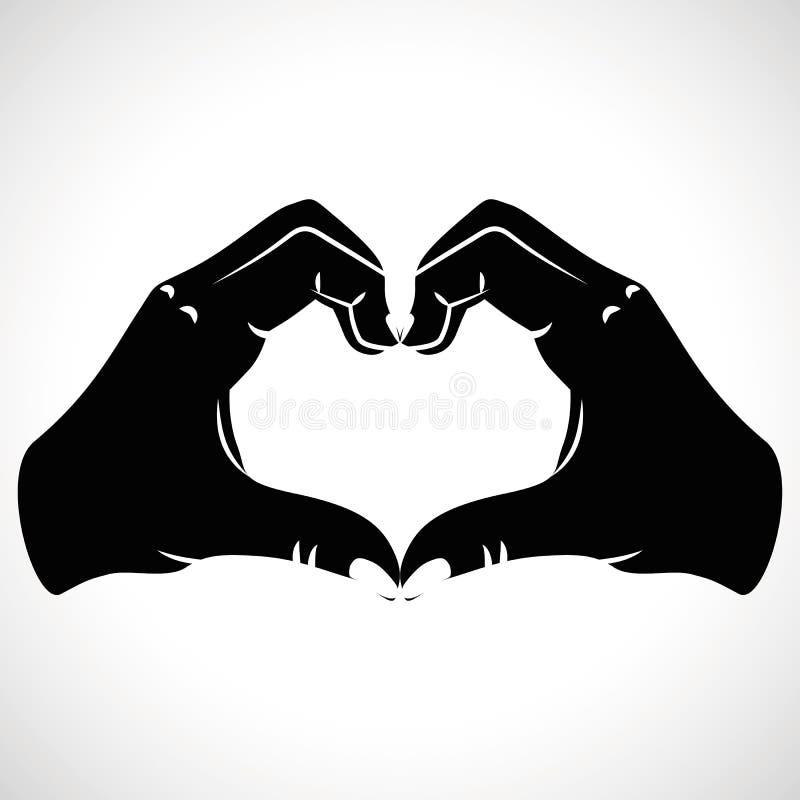 Καρδιές αγάπης χεριών μορφής εικονιδίων απεικόνιση αποθεμάτων
