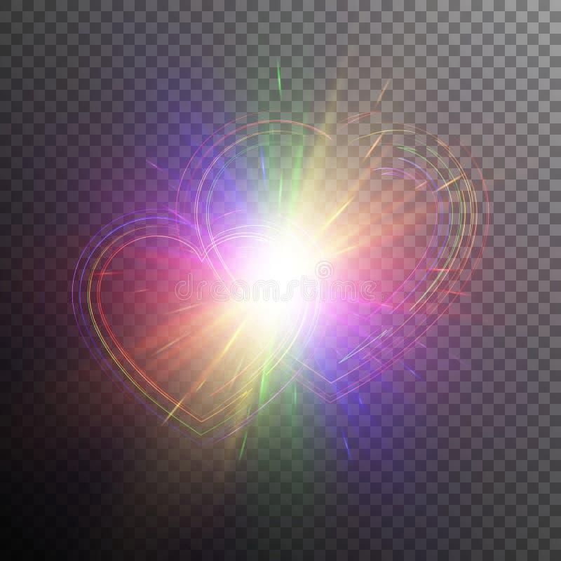 Καρδιές ουράνιων τόξων με τα ελαφριά αποτελέσματα διανυσματική απεικόνιση