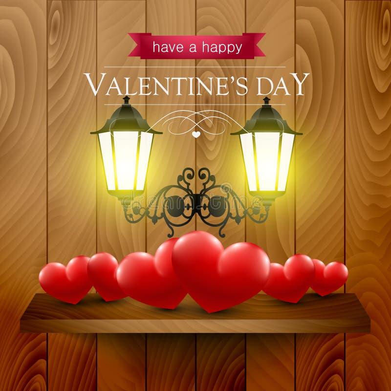 Καρδιές σε ένα ράφι και λαμπτήρες σε ένα ξύλινο υπόβαθρο διανυσματική απεικόνιση