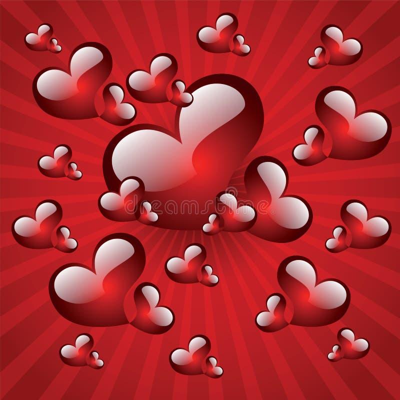 καρδιές σχεδίου πολλοί βαλεντίνοι διανυσματική απεικόνιση