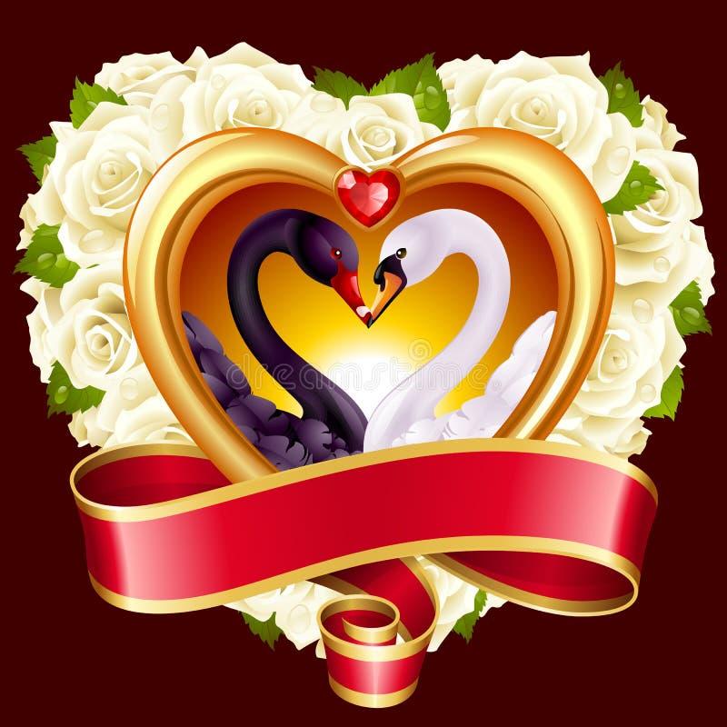 Καρδιές, τριαντάφυλλα και κύκνοι ελεύθερη απεικόνιση δικαιώματος