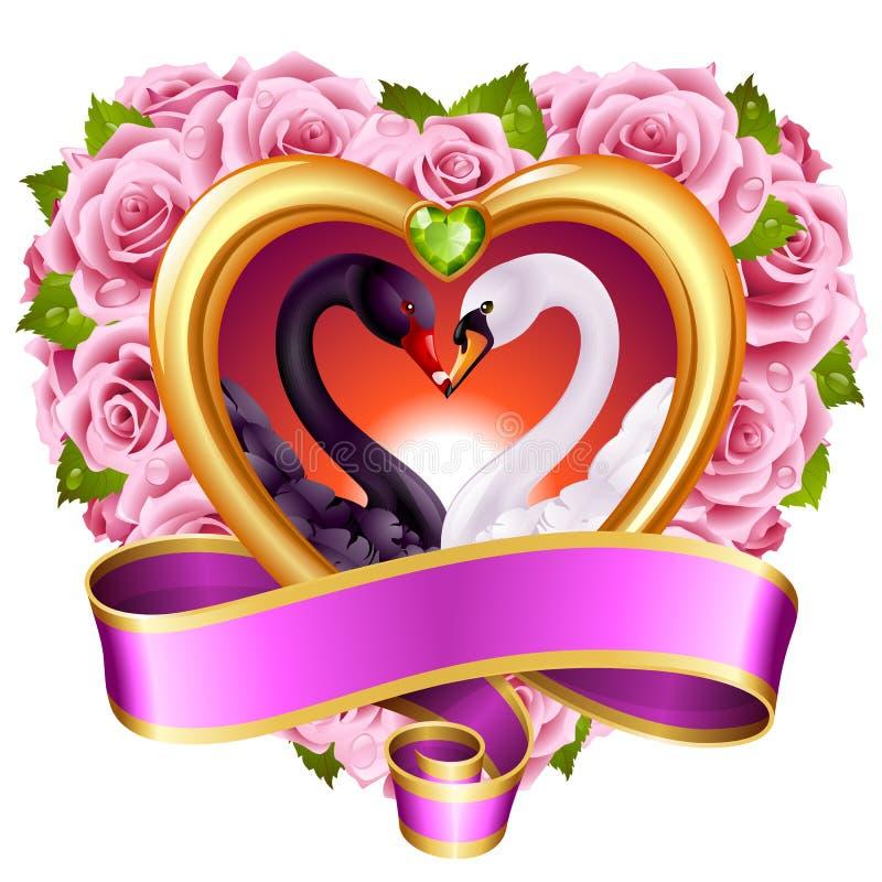 Καρδιές, τριαντάφυλλα και κύκνοι διανυσματική απεικόνιση