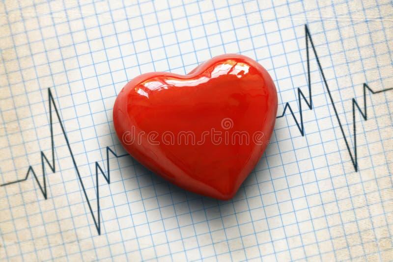 Καρδιογράφημα και καρδιά στοκ εικόνες με δικαίωμα ελεύθερης χρήσης