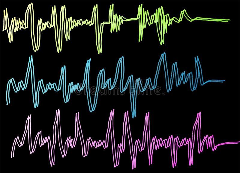 Καρδιογράφημα κυμάτων μουσικής διανυσματική απεικόνιση