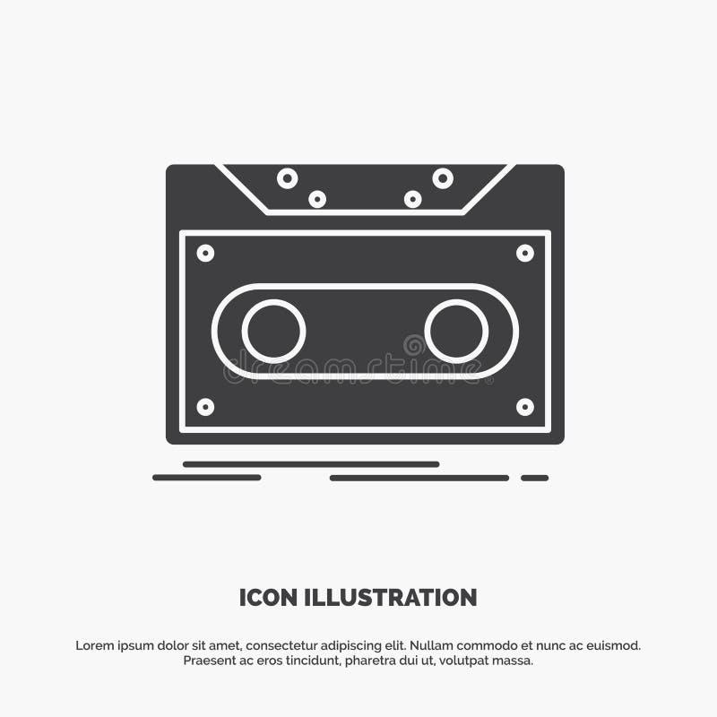 Κασέτα, επίδειξη, αρχείο, ταινία, εικονίδιο αρχείων glyph διανυσματικό γκρίζο σύμβολο για UI και UX, τον ιστοχώρο ή την κινητή εφ διανυσματική απεικόνιση
