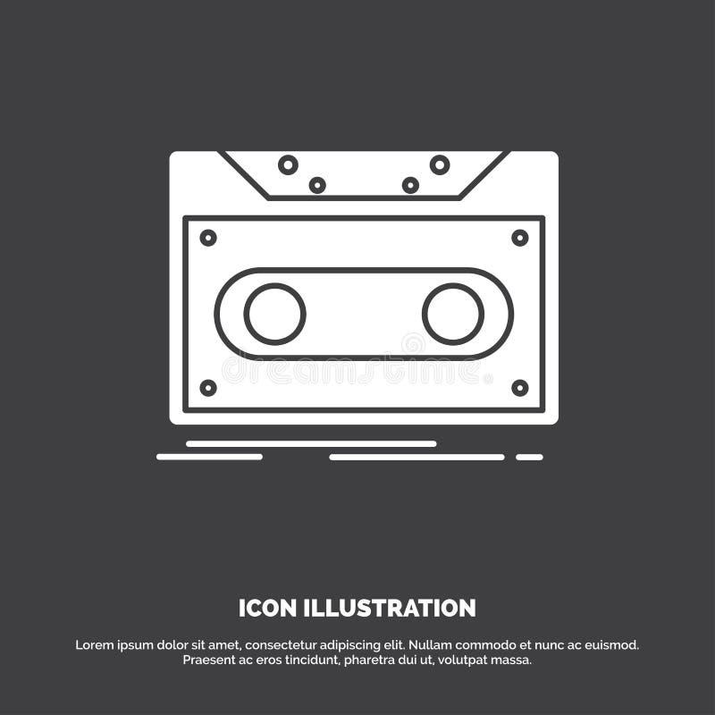 Κασέτα, επίδειξη, αρχείο, ταινία, εικονίδιο αρχείων glyph διανυσματικό σύμβολο για UI και UX, τον ιστοχώρο ή την κινητή εφαρμογή ελεύθερη απεικόνιση δικαιώματος