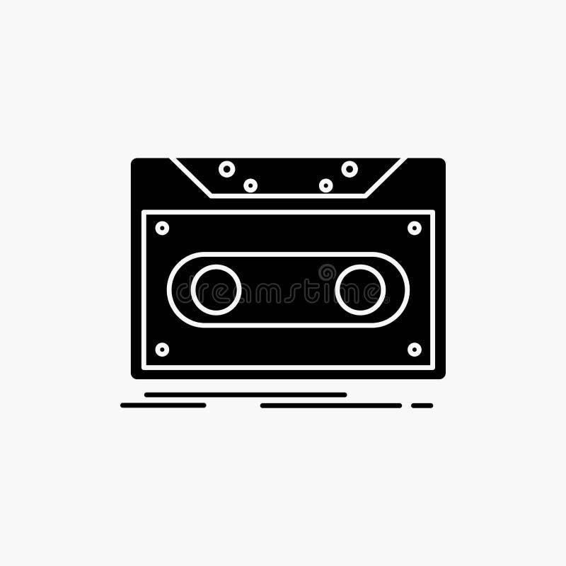 Κασέτα, επίδειξη, αρχείο, ταινία, εικονίδιο Glyph αρχείων : ελεύθερη απεικόνιση δικαιώματος